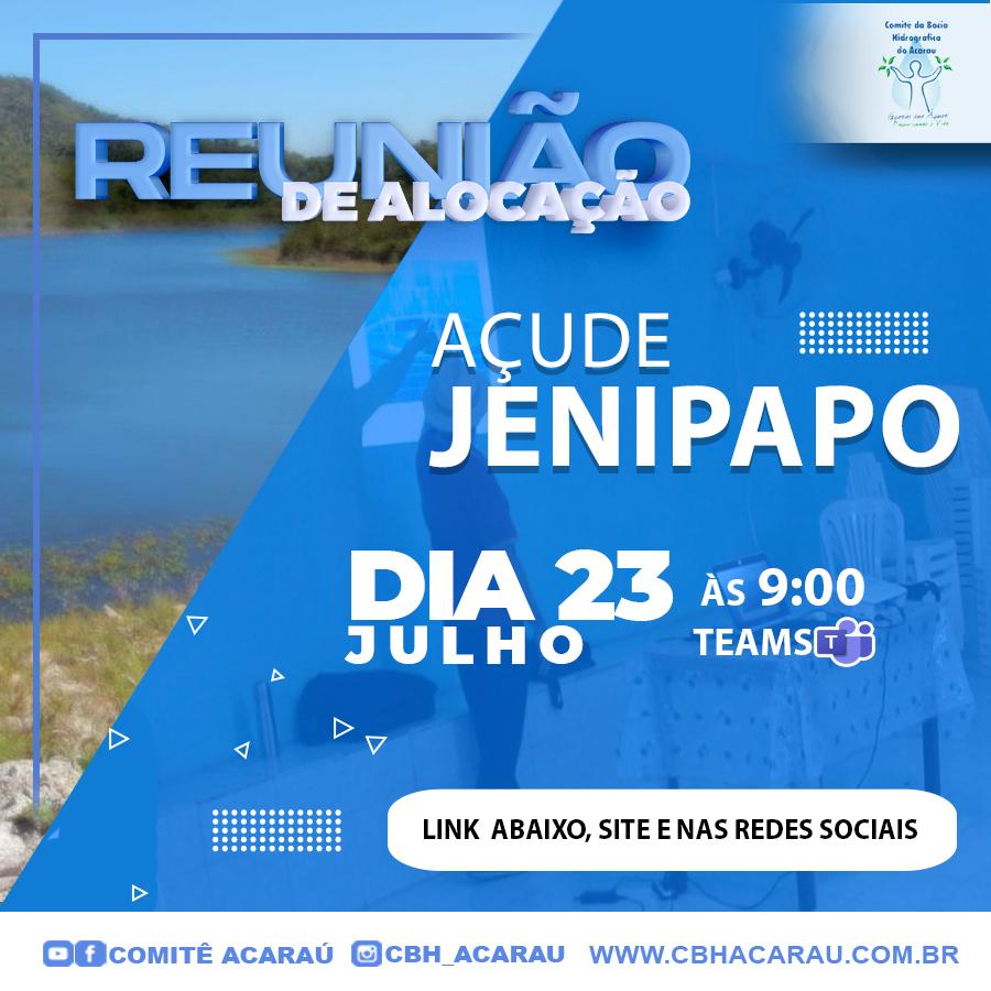 Reunião de alocação do açude Jenipapo será realizada no dia 23 de julho de 2021