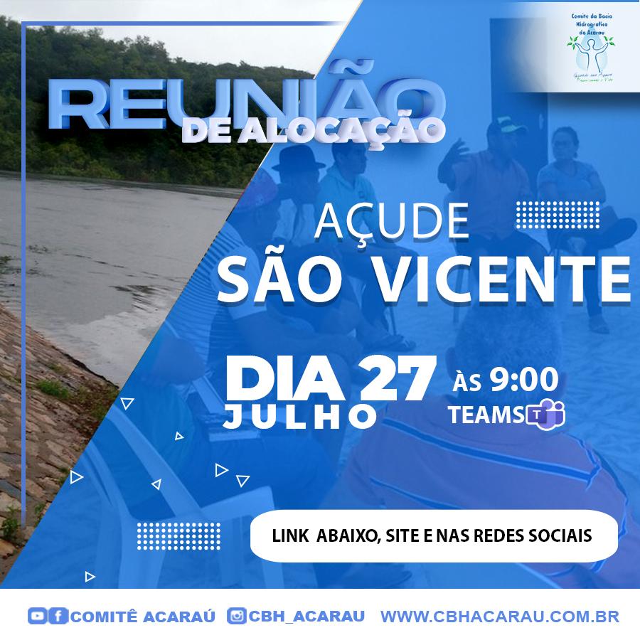 Reunião de alocação do açude São Vicente ocorre no dia 27 de julho