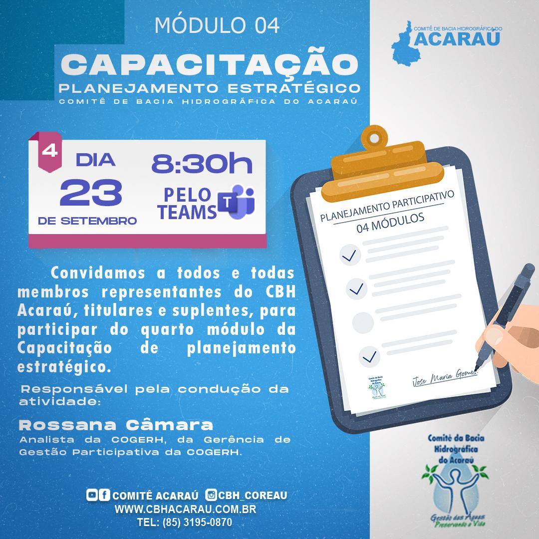 Módulo IV da Capacitação do Planejamento Estratégico ocorre dia 23 de setembro