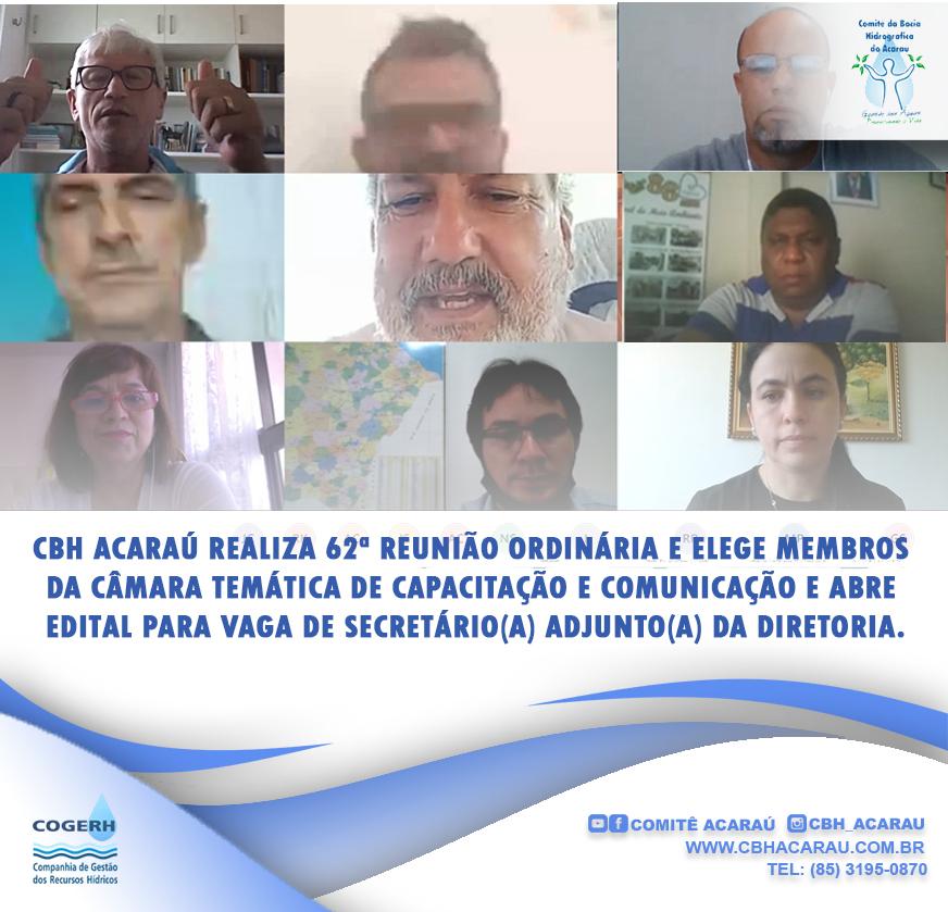 CBH Acaraú elege membros da Câmara Temática de Capacitação e Comunicação e abre edital para vaga de Secretário(a) Adjunto(a) da diretoria